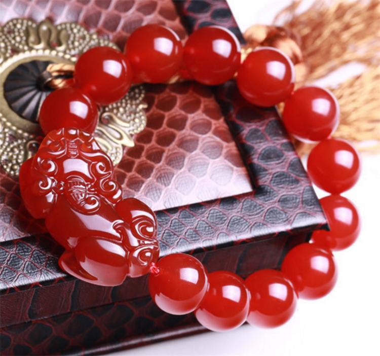 Red Natural agate bracelet unisex brave troops Beads Bracelet 14mm free shipping 2