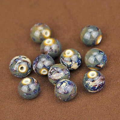 Bulk New 14-18mm Charms Flower Design Round Ceramic Loose Spacer Porcelain Beads