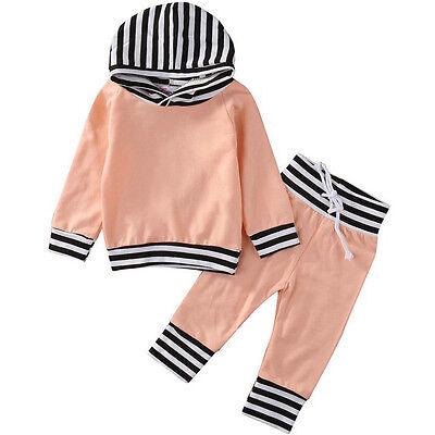 Bimbi Ragazzi Bambine Boy Vestiti Cappuccio Top Cappotto +Pantaloni Outfit 2 PZ 3