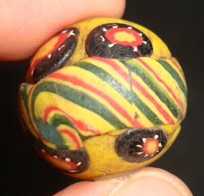 Ancient Islamic Eastern Beautiful Striped  Mosaic Glass Bead Art Pendant 616 7
