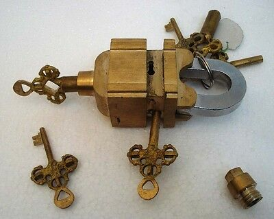 Brass Padlock Square Trick Puzzle Lock  with 6 Keys 10