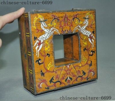 "7"" Rare old Chinese lacquerware wood carving Sika deer Storage Jewelry box case 7"