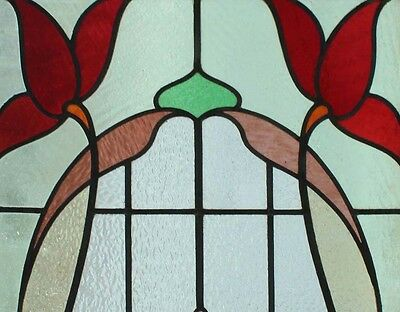 Amazing Art Nouveau Flowers Pair Antique English Stained Glass Windows 2