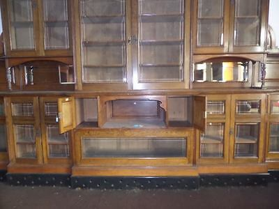 Monumental Regal Solid Oak Library Bookcase With Beautiful Carved Crest 10