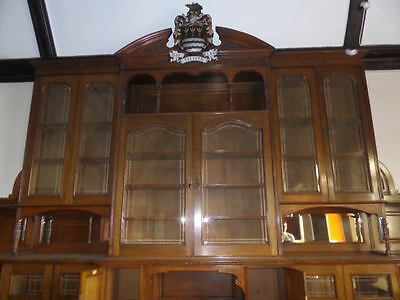 Monumental Regal Solid Oak Library Bookcase With Beautiful Carved Crest 2