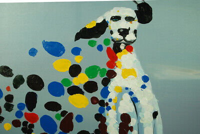 Framed Modern Wall Art Decor 100% Hand Painted Canvas Oil Painting - Dalmatian 3