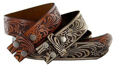 Western Embossed Tooled Genuine Leather Belt Strap 1 1/2'' Wide, Brown Black