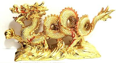 NEW LARGE GOLD Chinese Feng Shui Dragon Figurine Statue for Luck & Success 2