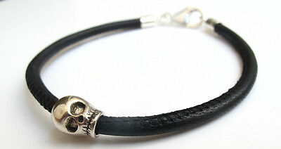 Skull sterling silver black leather bracelet bike bangle sterling bead men cuff 4