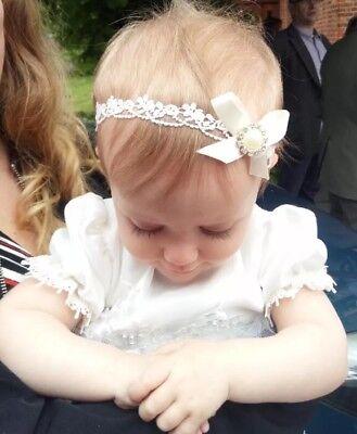 Baby Girl Ivory Christening Headband Baptism Wedding Lace Pearl Hairband Bow 4