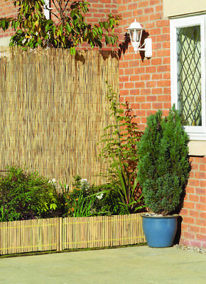 Natural Peeled Reed Screening Roll Garden Screen Fence Fencing Panel Wooden 4m 7