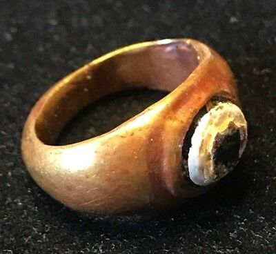 Ancient Roman Gold Ring With Remnants Of A White Shell. Nice Patination 2