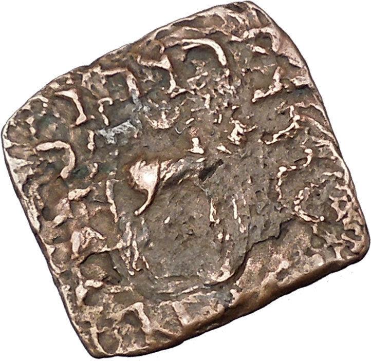 AZILISES 85BC INDO SKYTHIAN King on Horse Bull Ancient Greek Coin India i47057 2