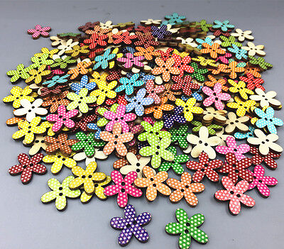 Wooden buttons Retro Flowers Mixed Color Fit sewing or scrapbooking 20mm