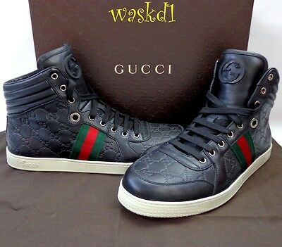 3c7a251ddc4 ... GUCCI Mens 10G  black CODA GUCCISSIMA leather High Top Sneakers NIB  Authent  595 3