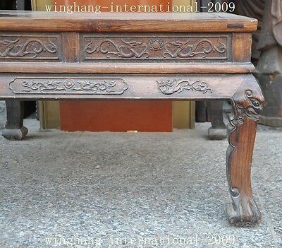 Old China Huanghuali Wood Hand-Carved Dragon phoenix Statue Ancient Tables Desk 2