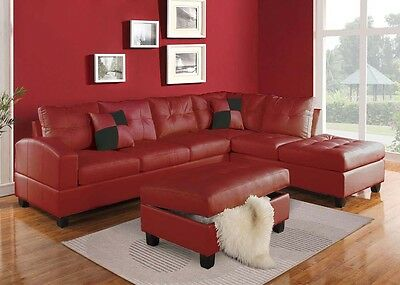 LIVING ROOM SECTIONAL Sofa Set Red Modern Bonded leather ...