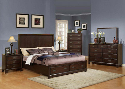 ... Master Bedroom Furniture King Queen Size Bed 4Pc Bedroom Set Dark Cherry  Color 2