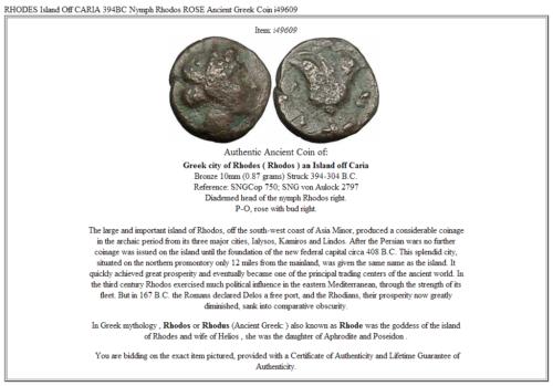 RHODES Island Off CARIA 394BC Nymph Rhodos ROSE Ancient Greek Coin i49609 3