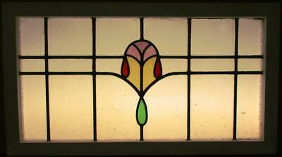 "OLD ENGLISH LEADED STAINED GLASS WINDOW TRANSOM Nice Geometric Band 34.25"" x 19"" 2"