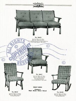 Sheboygan Fiber Furniture 1937 CATALOG Wicker Rattan Upholstered Chairs + Settee 11