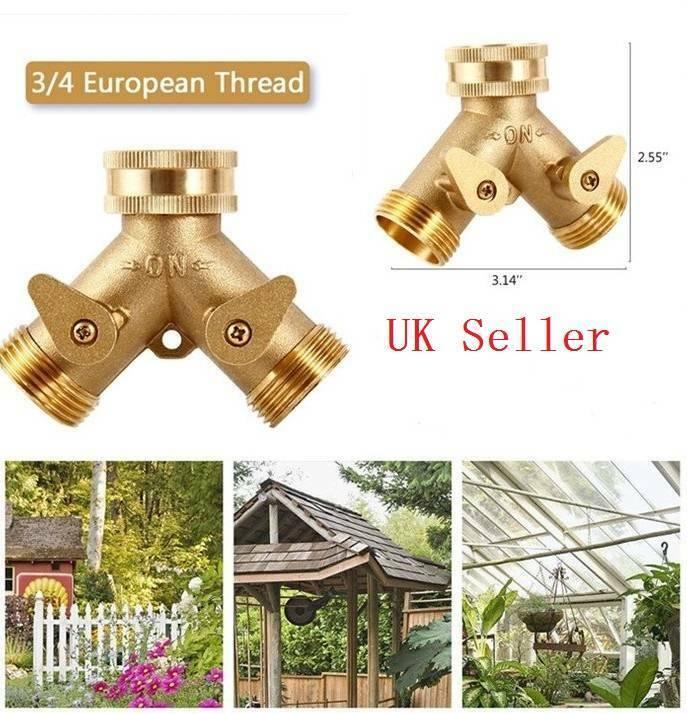 "3/4"" Double 2 Way Brass Garden Tap Connector Adaptor Watering Hose Pipe Splitter 3"