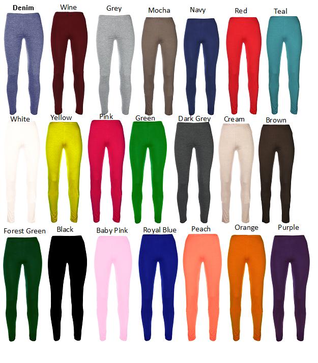 Ages 2-13 (20+ Colours) Girls Plain Full Length Legging Brown Black Grey White 10