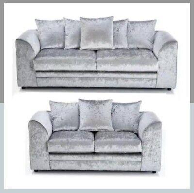 *Sale* Crushed Velvet Silver Original Glitz Chicago Corner Sofa 32 Seater Swivel 2