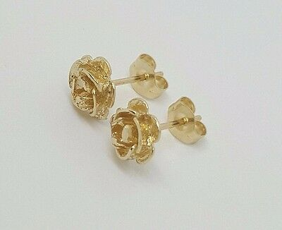 99eaad607 ... 14k Solid Yellow Gold Rose Flower Stud Earrings Women/Children Push Back  7 MM 9