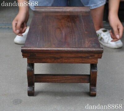 Old Chinese dynasty Huahuali Wood Carved Feng Shui animal bat Ancient Desk table 7