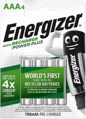 ENERGIZER AAA 700mAh POWER PLUS RECHARGEABLE BATTERIES PRE-CHARGED 2