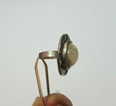 Extremely Rare Ancient Roman Old Ring Metal Color Silver Artifact Massive Stone 9