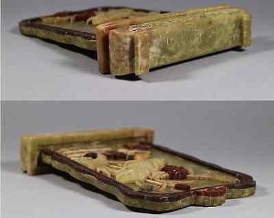 China Old  Ink Stone Screen shoushan stone 硯屏 /  KENBYO / Qing Dynasty 3