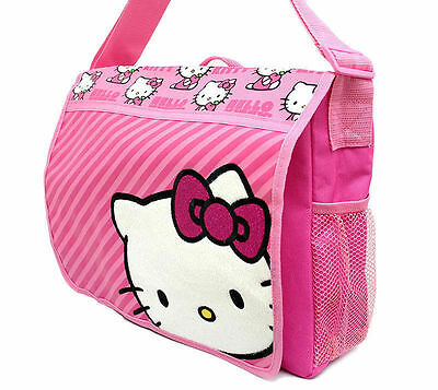 9259538da9f6 ... Sanrio Hello Kitty Messenger Diaper School Shoulder Bag Pink Stripes  NEW 2