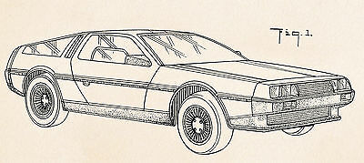 1986 Delorean Car Auto Back To The Future Guirgiaro De Lorean Dmc-12 Patent Art 2