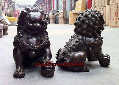 Door god fengshui Pure Bronze Brown Patina Lion Foo Fu Dogs Statue H:25cm 2