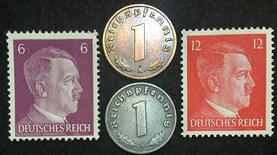 Rare WW2 German Coins & Unused Stamps World War 2 Authentic Artifacts 2
