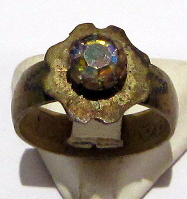 VINTAGE NICE BRONZE RING WITH STONE FROM THE EARLY 20th CENTURY # 972 2