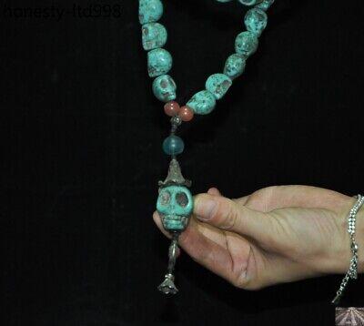 Tibet Turquoise carved Skeleton Devil Skull death-head Exorcism amulet Necklace 10