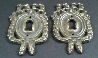 "2 Vintage Antique Style Ornate French Eschutcheons Key Hole Covers 2 1/2"" #E13 3"