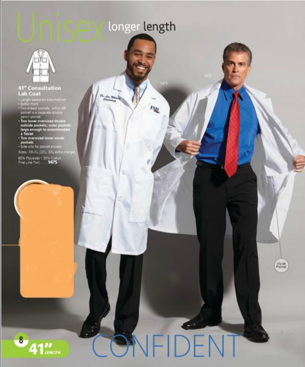 6 Pocket Unisex Consultant, Lab Coat Knee Length Walter Reed Bethesda Logo Small 4