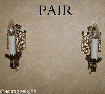 845 20's 30's Ceiling Light Lamp Wall Sconce Fixture polychrome pair 4