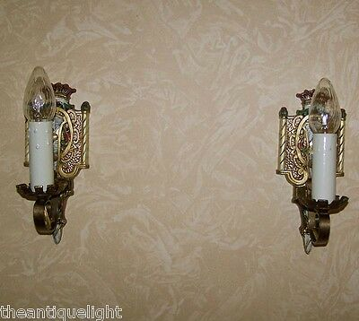 845 20's 30's Ceiling Light Lamp Wall Sconce Fixture polychrome pair 2