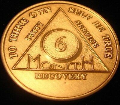 ALCOHOLICS ANONYMOUS AA 6 Month Bronze Medallion Coin Chip Token Sobriety  Sober