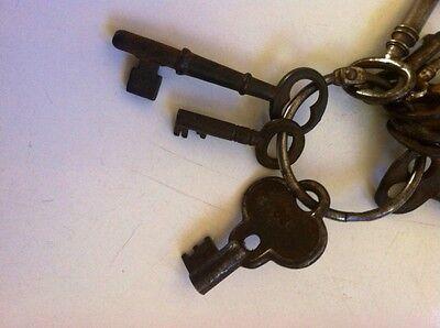 10 Antique Castiron Skeleton Keys,Owl,mini,& Keyring LOOK! 4