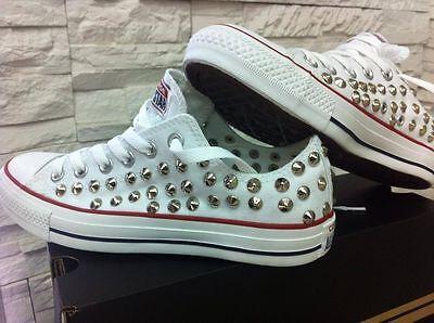 39da8b860eae0 ... 6 Scarpe Converse All Star Basse Bianche personalizzate con borchie  argento 5