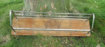 Vintage Wood Chrome Wall Coat Rack Shelf Mid Century Modern Railroad Industrial 2