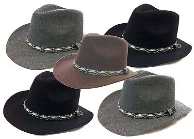 Outback Ranger Aussie Felt Western Cowboy Fedora Dress Bucket Navy Blue  Hat Cap