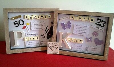 Brother Birthday Gift Personalised Picture Frame Scrabble Letters In Law 3