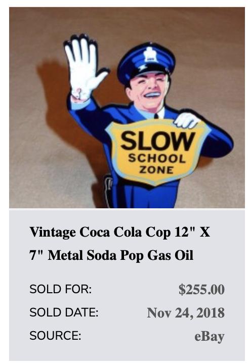 """Vintage Coca Cola Cop 12""""  Metal Business Card Holder Soda Pop Gasoline Oil Sign 4"""